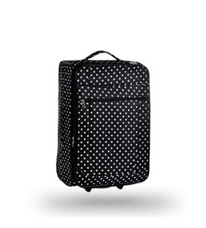 Черный тканевый чемодан в горошек